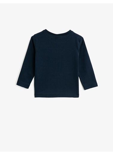 Koton Pamuklu Baskili Bisiklet Yaka Uzun Kollu T-shirt Lacivert